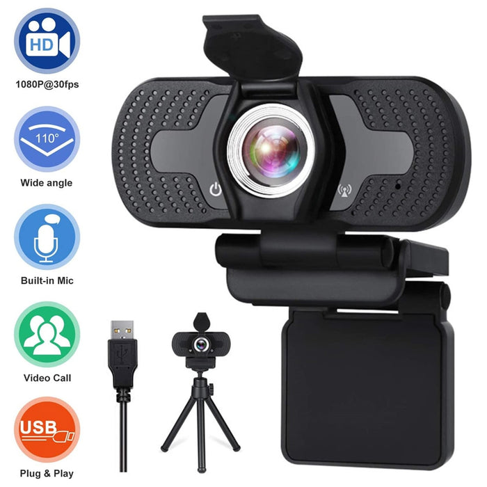 USB2.0 Live Streaming Video Recording Drive Free Full HD Webcam With Privacy Cover And Tripod Computer Accesories Conferencing
