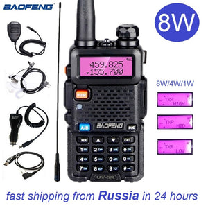 Baofeng UV-5R 8W Walkie Talkie Radio Station FM Transceivers VHF UHF Ham Radio Amateur UV5R UV 5R Transceiver for Hunting 10KM