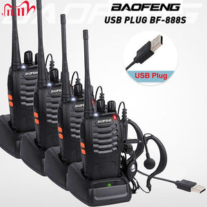 4pcs/lot BAOFENG BF-888S Walkie Talkie Two Way Radio Baofeng 888s UHF 400-470MHz 16CH Long Range Portable Transceiver + Earpiece