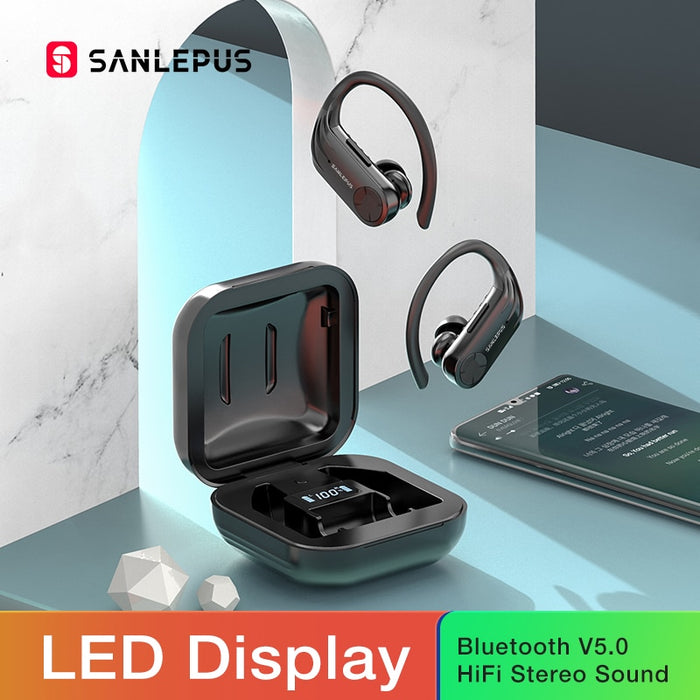 SANLEPUS B1 Led Display Bluetooth Earphone Wireless Headphones TWS Stereo Earbuds Sport Gaming Headset For Xiaomi Huawei iPhone