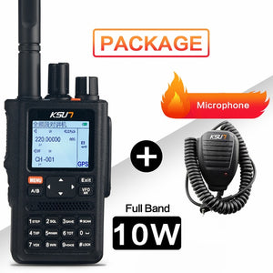 KSUN Walkie Talkie Outdoor 10W High Power Full Screen Segment GPS Positioning Multifunctional Dual Segment Color Screen X-UV98D