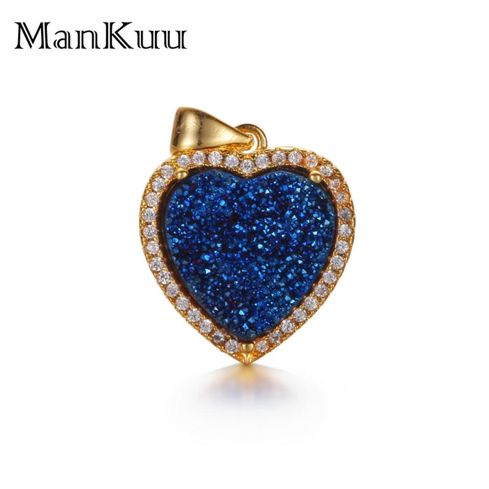 ManKuu Heart Shape Pendant Natural Quarz Druzy Stone Pendant Micro Pave Zircon Gold Plating Metal Pendant Necklace Accessories