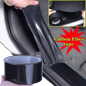 Car Door Sill Protector Bumper Protector Carbon Fiber Car Wrap Film 3D Gloss Automotive Wrap Film Self-Adhesive Anti-Collision
