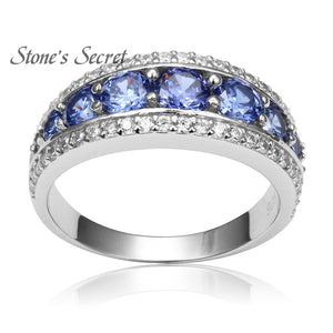 Top Quality Elegant 925 Sterling Silver Engagement Rings AAA Tanzanite CZ Sapphire Stones Rings for Woman Fine Jewelry SR002