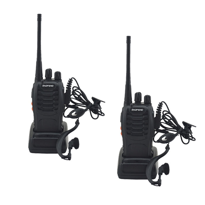 2pcs/lot BAOFENG BF-888S Walkie Talkie UHF Two Way Baofeng Radio 888s UHF 400-470MHz 16CH Portable Transceiver With Earpiece