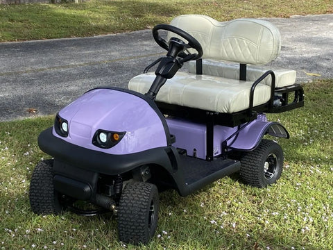 CRICKET RX5 | $5,299.99 + TAX The new Cricket RX5 is the latest Innovation from the Cricket Carts team! These electric carts, like all our Crickets, can fit into nearly any vehicle, from RVs to Pickup trucks, from vans to SUVs! However, what makes the RX5 unique in the Cricket family is not only its sleek new rounded design (which comes in multiple colors), but also its advanced front end suspension. The RX5 is the smoothest riding Cricket to date, and with variable add-ons such as the cart tops, weather shields and remote controls, you can customize your RX5 for any occasion! RV enthusiasts and campers absolutely love the convenience that the RX5 provides, Equestrian athletes can use the RX5 to swiftly travel around events, then store it away in their horse trailers when not in use! As always, anyone can enjoy the RX5, even for leisurely rides around the park or neighborhood, this Cricket is a versatile and affordable electric cart for all occasions!