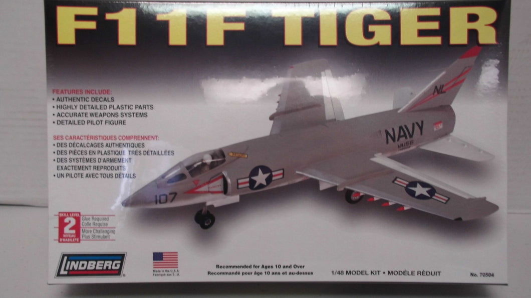 Lindberg F11F Tiger 1/48 Scale Model Kit #70504