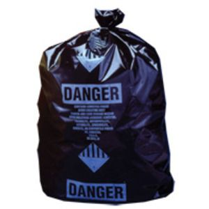 Poly Garbage Bag, Black ACM-Printed Contractor Bag, Perforated, 30