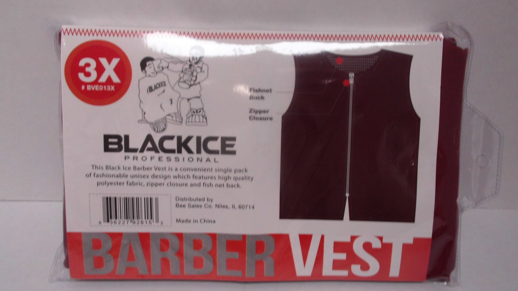 Black Ice Barber Vest Size 3XLarge BLACK Professional polyester fabric with zipper closure