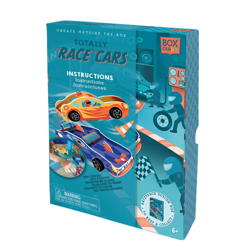 BOX CANDIY® Totally Race Cars Build Your Own Pull-Back Cars