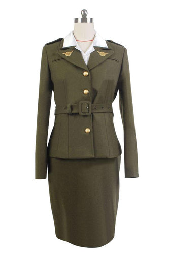 Captain America The First Avenger Agent Peggy Carter Suit Cosplay Costume Version Green