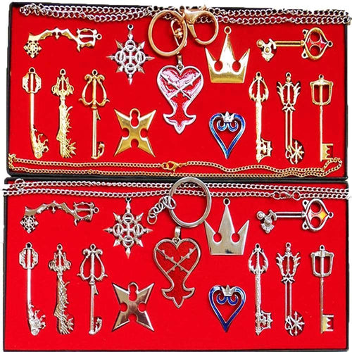 Kingdom Hearts 2 Ii Keychain Pendant Necklace Set Box Cosplay Accessaries