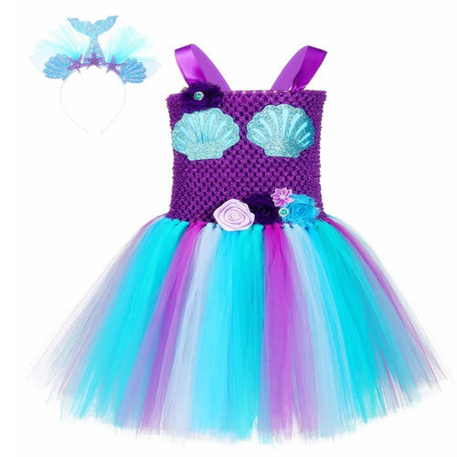 Baby Girl Mermaid Sea Maid Bubble Dress Cosplay Costume Kids