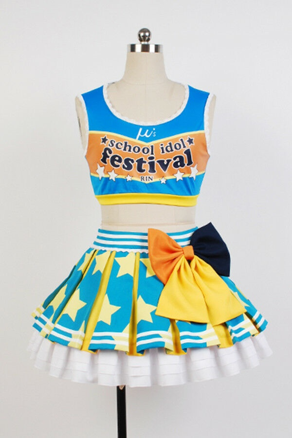 Lovelive Rin Hoshizora Cheerleaders Uniform Cosplay Costume