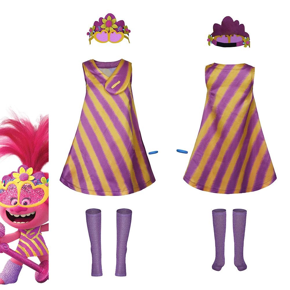 trolls 2 world tour poppy adult women dress outfit halloween carnival costume cosplay costume