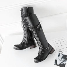 Punk Rock High Heeled Heavy Bottomed Black Boots