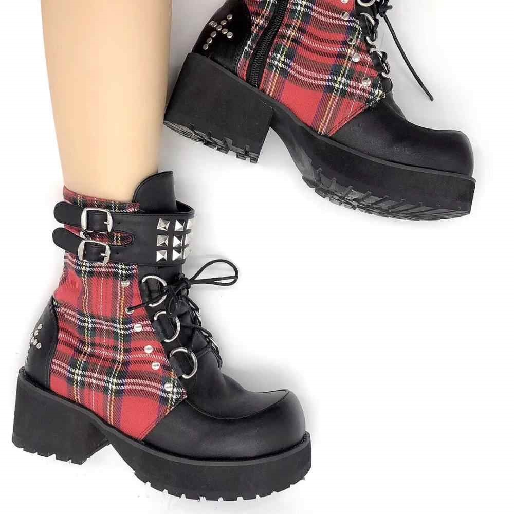 Punk Red Plaid Classical Boots B Version