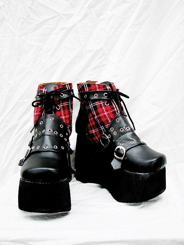 Punk Red Plaid Classical Boots A Version