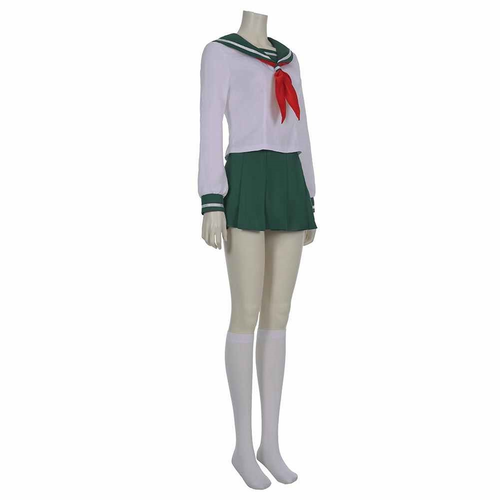 Anime Inuyasha Kagome Higurashi Women Girls Uniform Skirt Outfit Halloween Carnival Costume Cosplay Costume