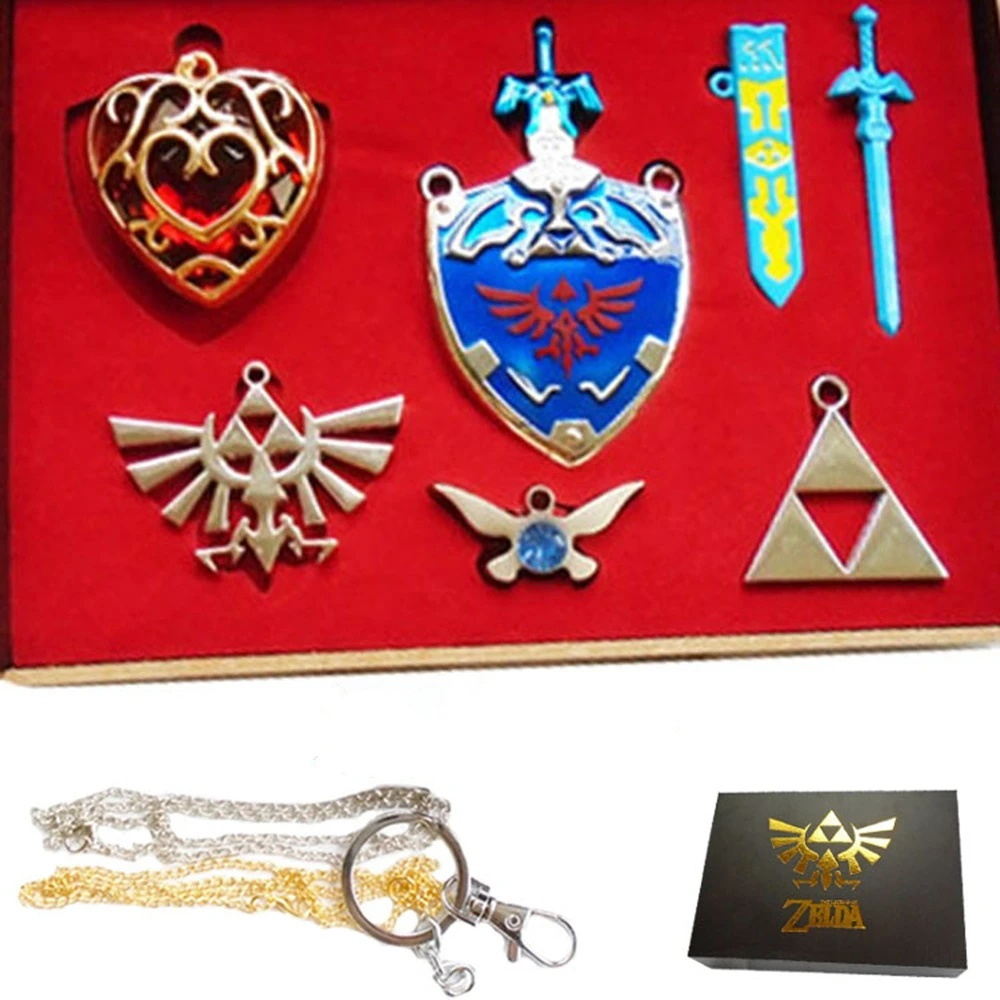 Legend Of Zelda Shield Sword Necklace Pendant Cosplay Accessories