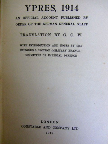 Ypres, 1914  An Official Account Published by Order of The German General Staff.