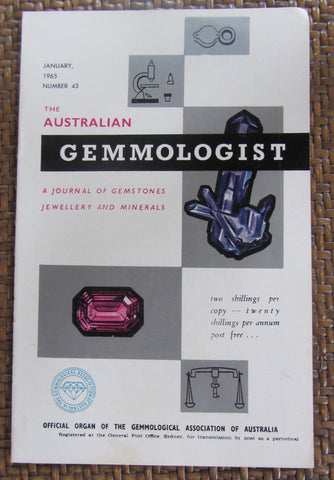 The Australian Gemmologist  A Journal of Gemstones Jewellery and Minerals  February, 1965  Number 44   First Edition   Softcover    Good / Very Good