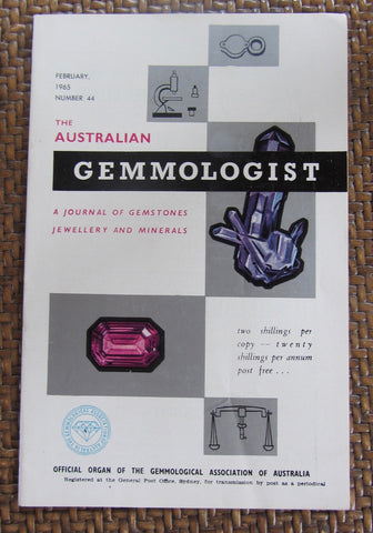 The Australian Gemmologist  A Journal of Gemstones Jewellery and Minerals   February, 1965, Number 44    First Edition  Softcover  Good / Very Good