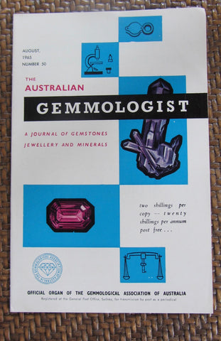The Australian Gemmologist  A Journal of Gemstones Jewellery and Minerals  August 1965, Number 50  Softcover   Good / Very Good