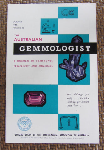 The Australian Gemmologist  A Journal of Gemstones Jewellery and Minerals  October, 1965, Number 52    First Edition    Softcover    Good / Very Good