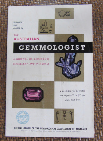 The Australian Gemmologist  A Journal of Gemstones Jewellery and Minerals   December, 1965, Number 54     First Edition     Softcover     Good / Very Good