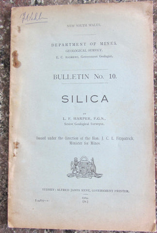 Department of Mines Geological Survey. Bulletin 10. Silica