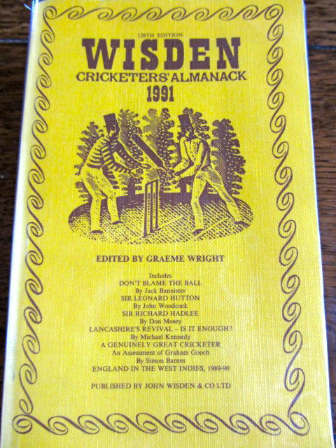 Wisden - Cricketers' Almanack 1991    Edited by Graeme Wright   Softcover    128th Edition    Very Good