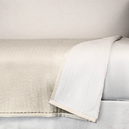 Product with title Charmeuse Channel Quilt Coverlet - CONQK-IVO CONQQ-IVO