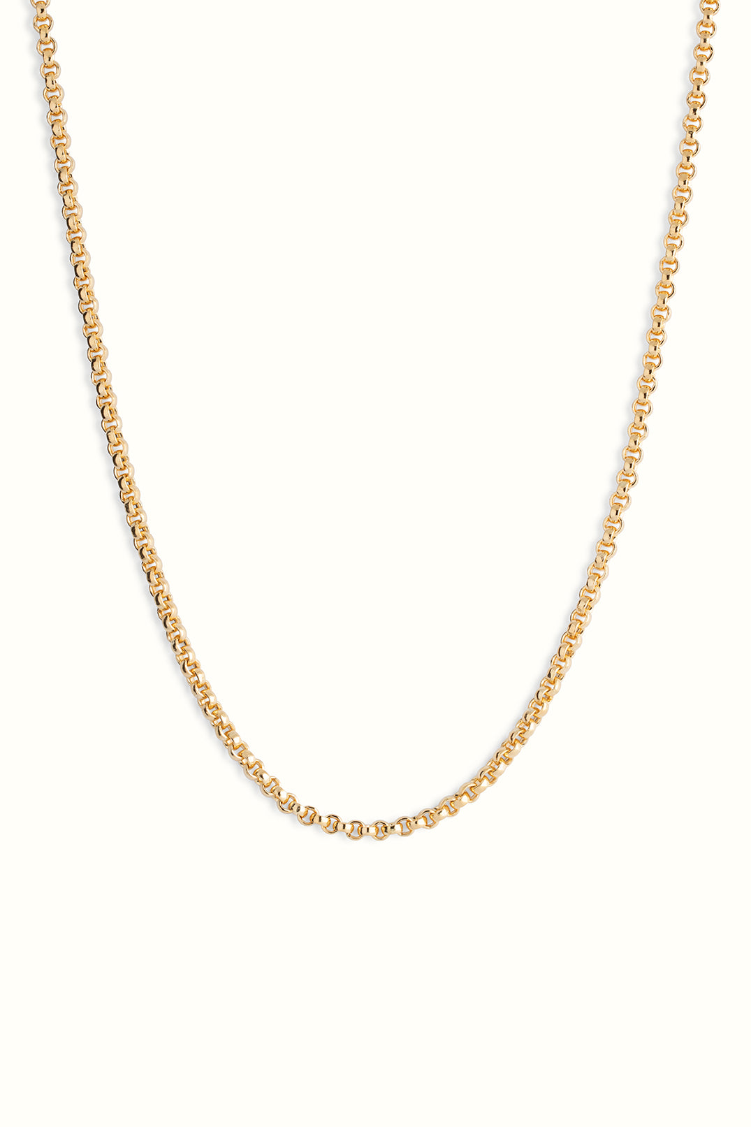 a product picture close up of a chunky gold filled rolo chain necklace on a white background