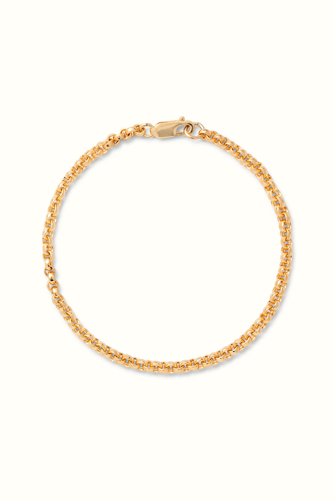a product close up of a gold filled rolo chain bracelet on a white surface