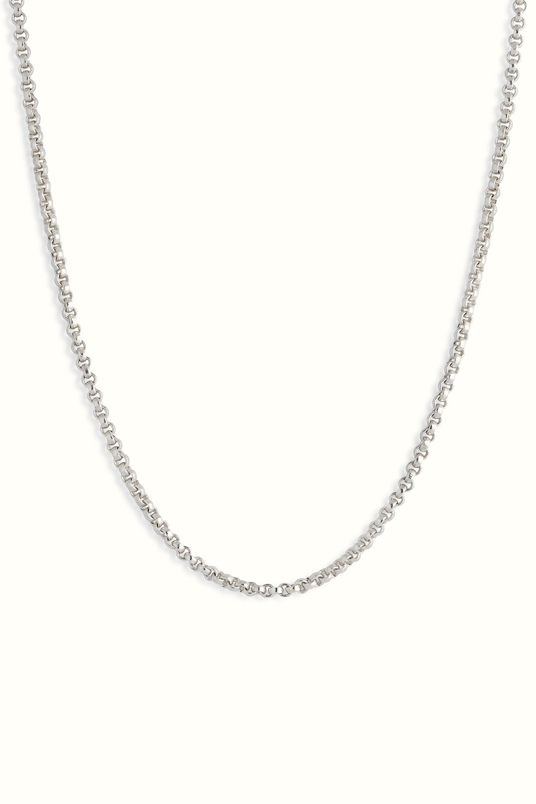 a product picture of a sterling silver rolo chain necklace in front of a white background