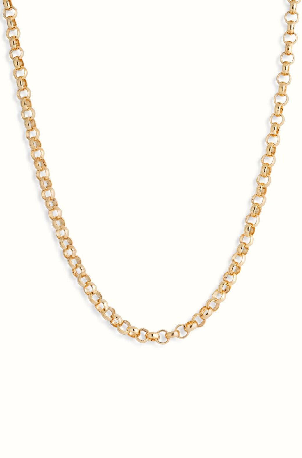 a chunky gold filled rolo chain necklace on a white background