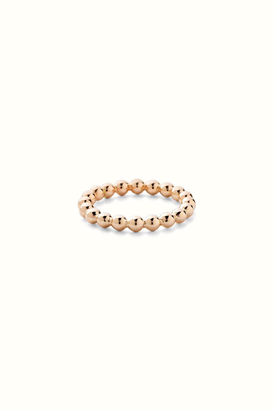 a chunky gold filled beaded style finger ring on a white background