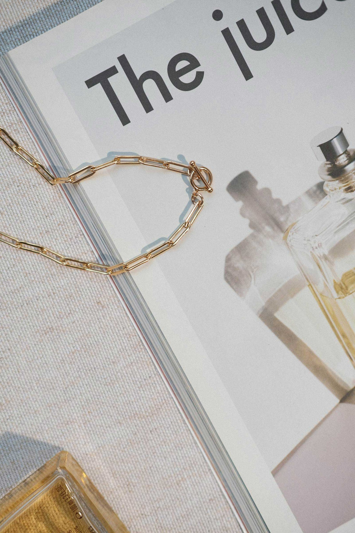 A chunky gold filled paperclip necklace with toggle clasp lying on a magazine