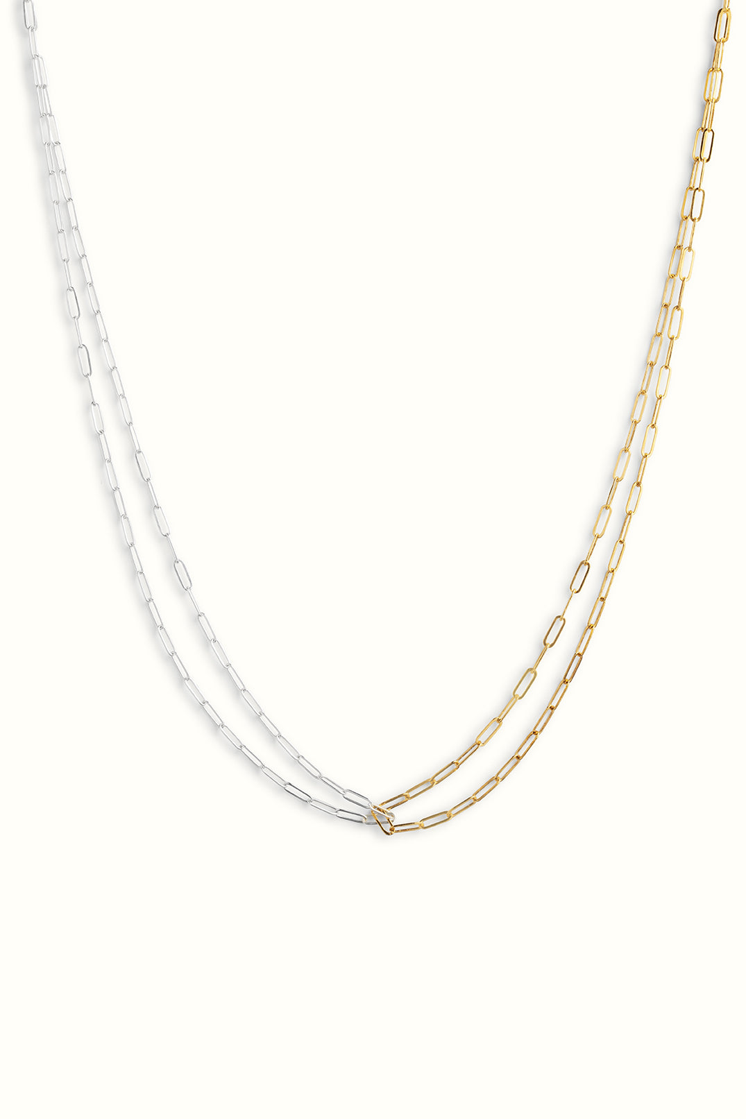a gold filled and sterling silver combined paperclip necklace on a white background