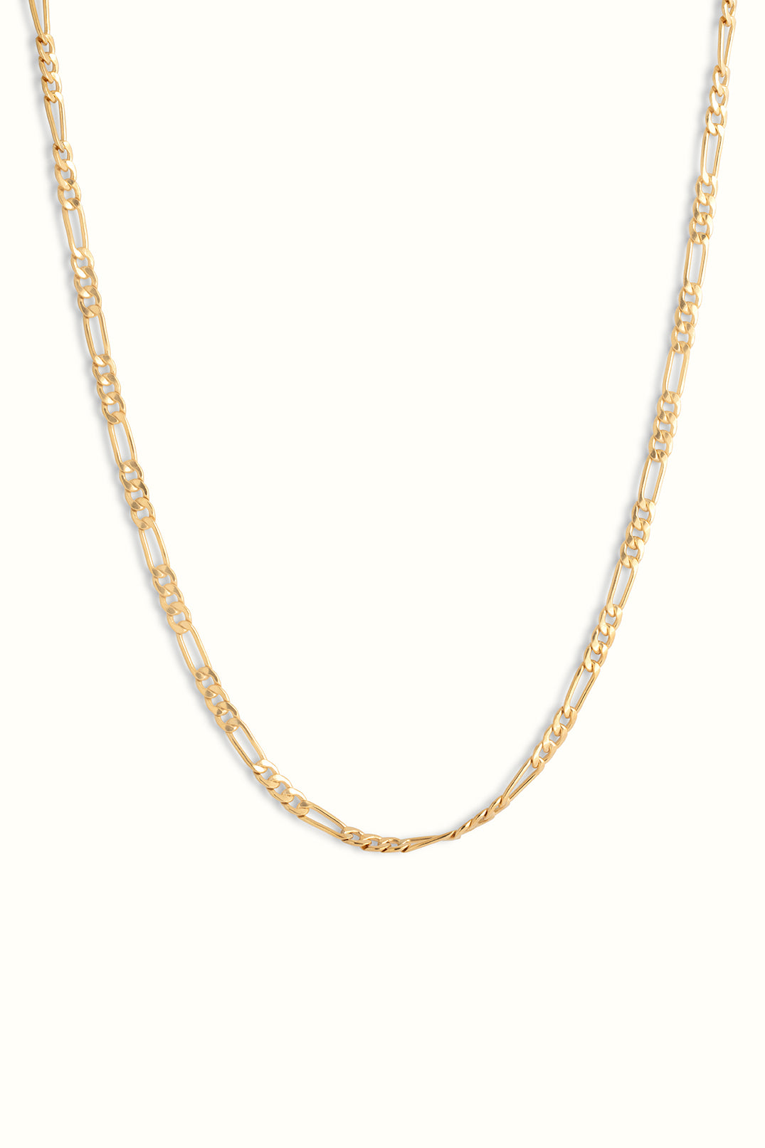 gold filled chunky figaro chain necklace in front of a white background