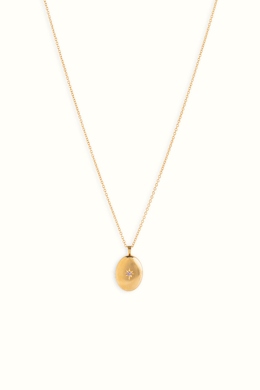 a gold filled necklace with a zirconia set stone locket on a white background