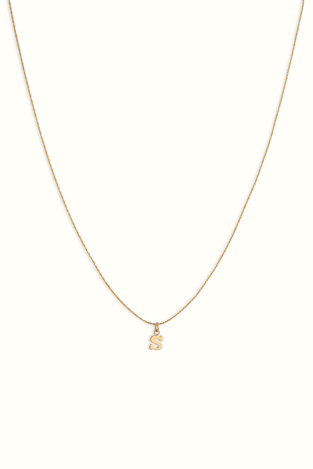 fine gold filled cordette snake necklace with an initial pendant letter S charm