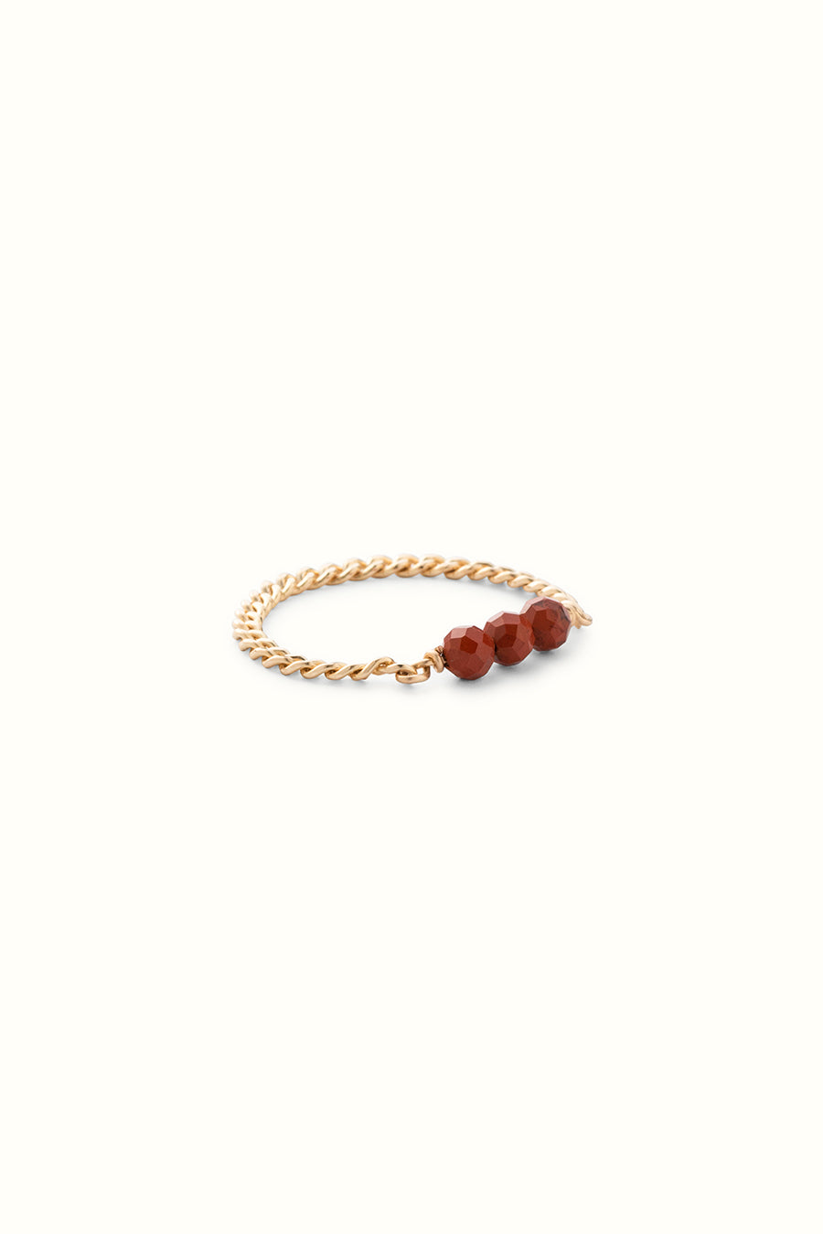 Claudia Red Jasper Chain Ring Gold Filled