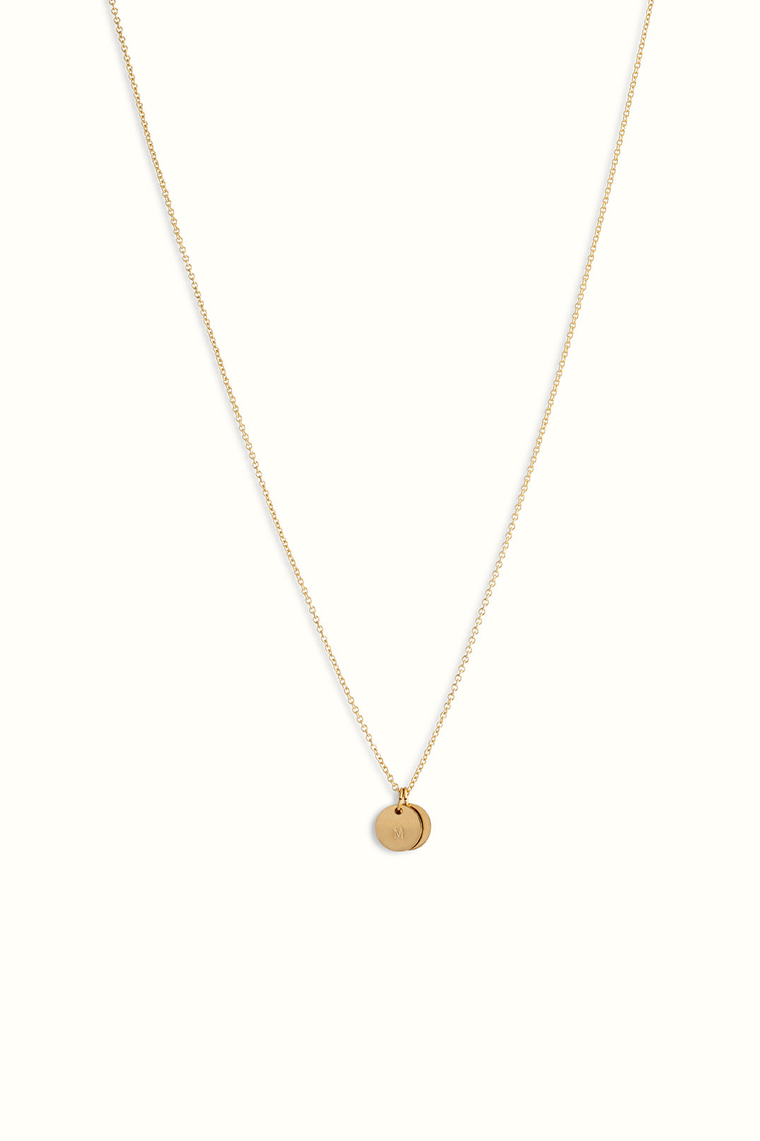 gold filled round cable necklace with two round initial pendants