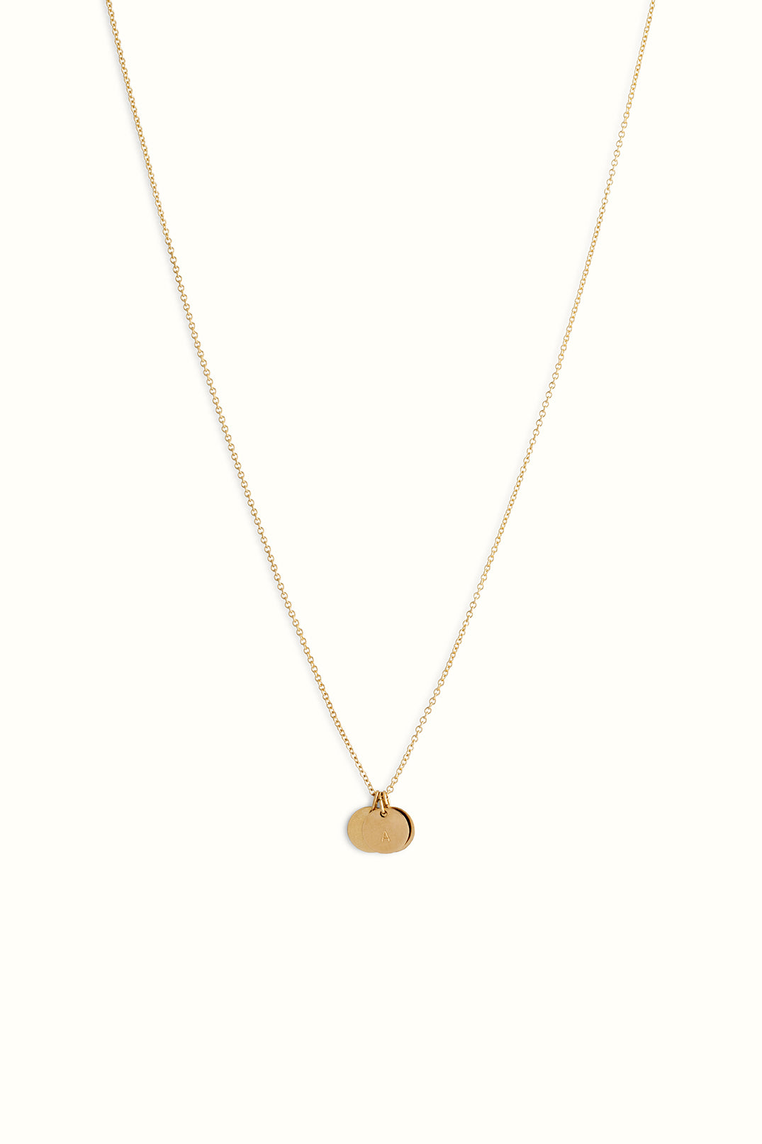 gold filled round cable chain necklace with three round disc initial pendants