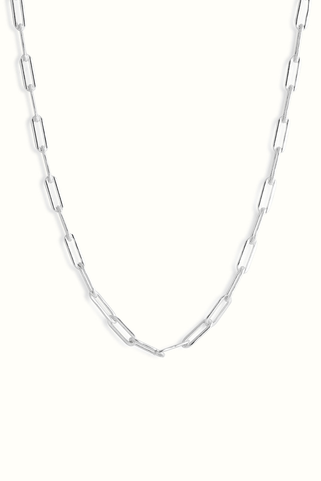 chunky sterling silver paperclip chain necklace
