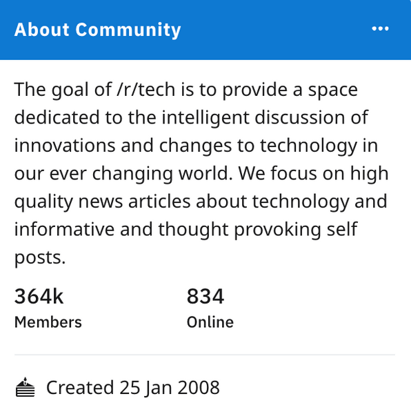 Top Reddit post on r/Tech