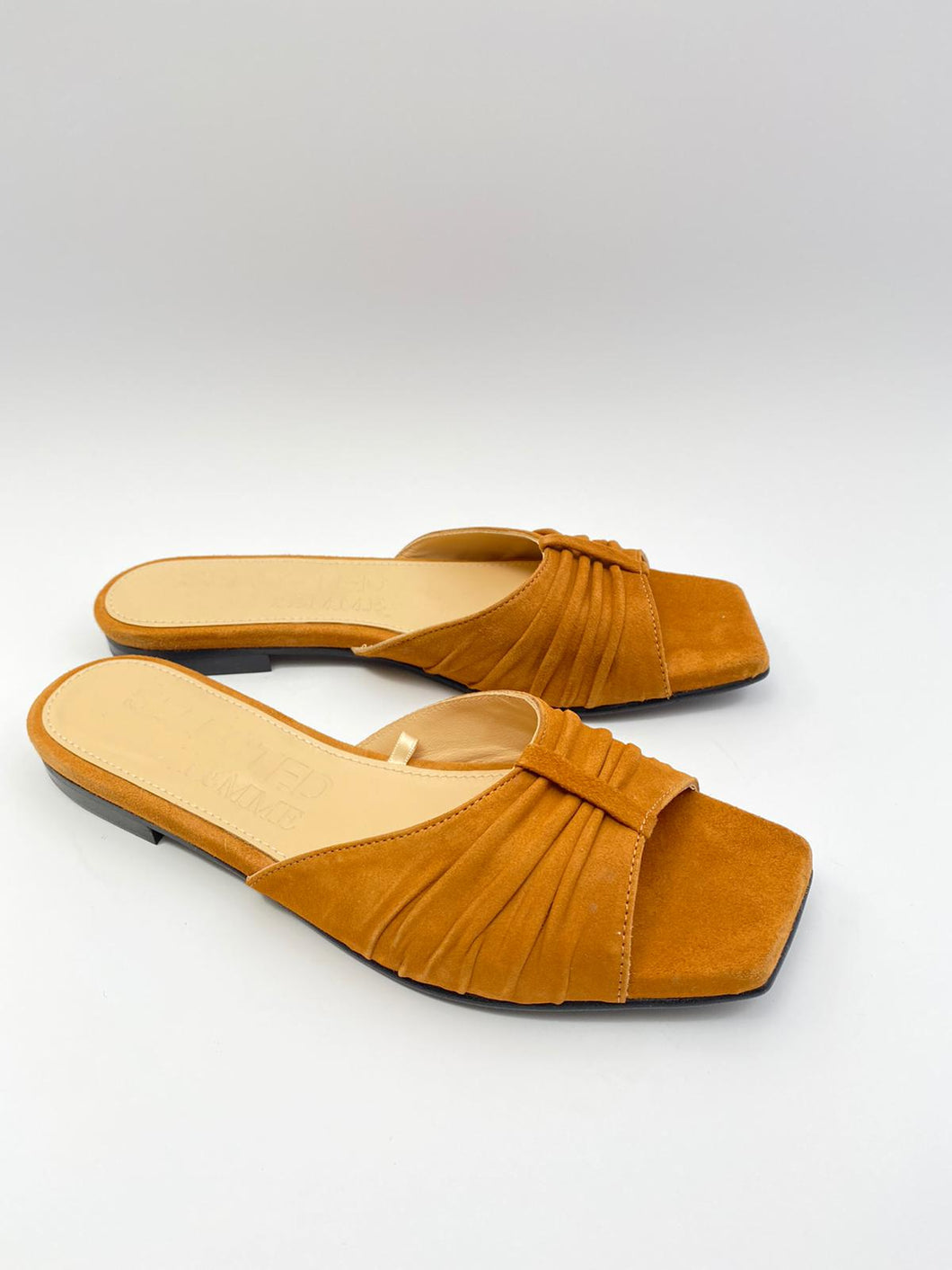 Selected Femme instapper/slipper in cognac suède