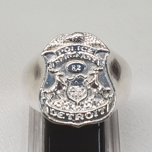 Sterling Silver Detroit Police Mens Ring